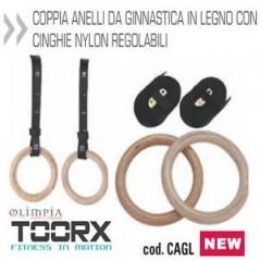 Coppia Anelli da Ginnastica in Legno con Cinghie in Nylon Regolabili Toorx